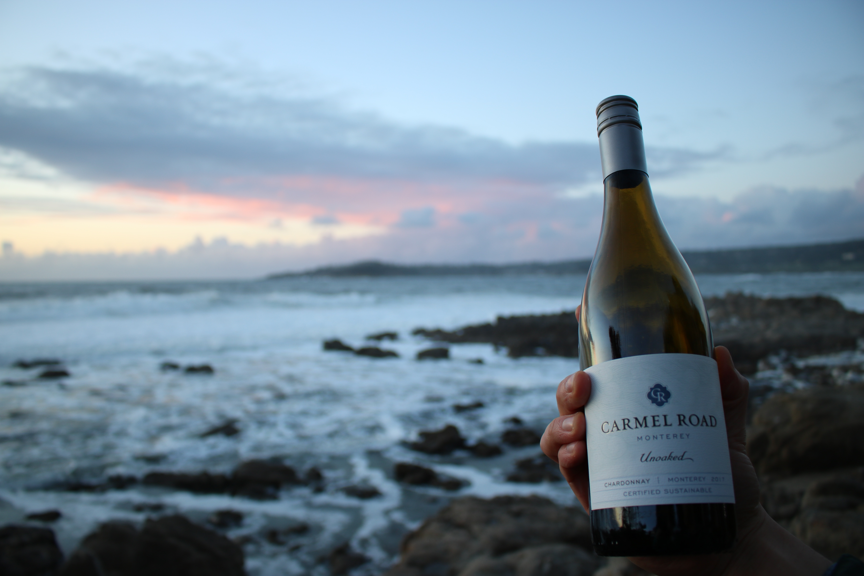 Wine bottle at sunset