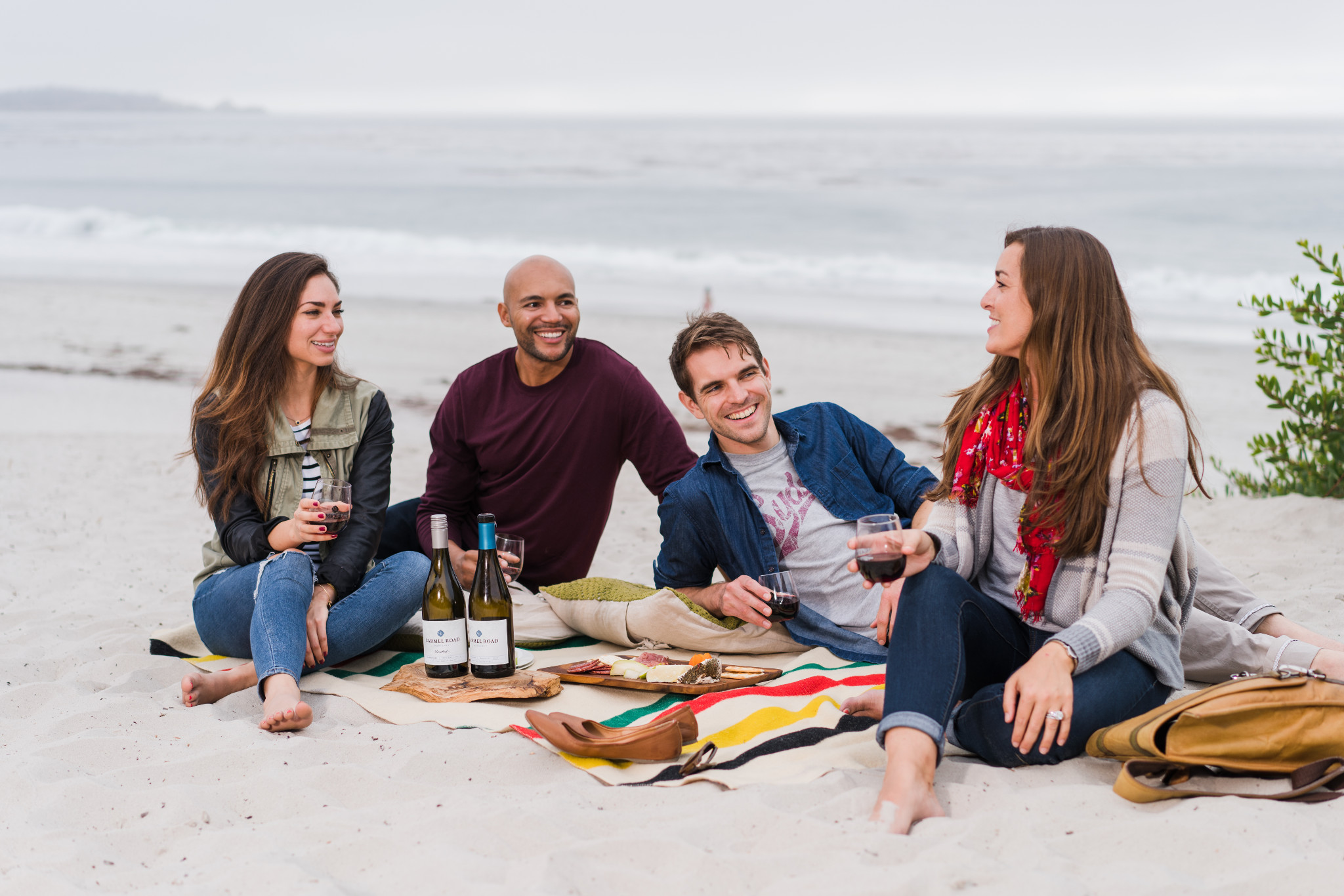 Beach picnic with friends